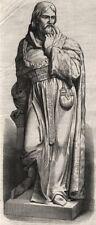 Statua di Sir Michael de la pole, a Hull. Yorkshire, antica stampa, 1871