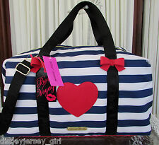 Betsey Johnson Weekender Away We Go Nautical Travel Tote Duffel Bag  NWT