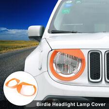 2x Orange Front Headlight Light Lamp Decor Cover Trim for Jeep Renegade 2016-18