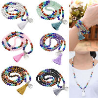 Chakra Multi-layer 108 Buddha Gem Beads Bracelet Prayer Meditation Mala Necklace