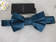 BNWT Ted Baker Dinzbow Teal Pin Dot Pattern Silk Bow Tie