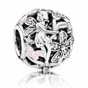 Genuine Pandora Dazzling Daisy Fairy Charm Pink Butterflies 791841EN68 Retired