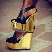 Sexy Womens Open Toe Super High Wedge Heel Platform Sandals Party Club Shoes SZ