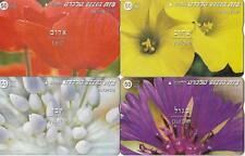 ISRAEL BEZEQ FLORA FLOWERS SET OF 4 PHONECARDS 50 UNITS RARE