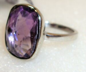 GENUINE NATURAL AMETHYST RING IN SOLID 925 STERLING SILVER SETTING