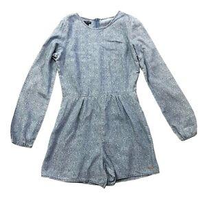 New U.S. Polo Assn Jumpsuit Blue Flowers Print Size Small 8 Women Playsuit