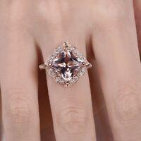 2ct Princess Cut Peach Morganite Halo Floral Engagement Ring 14k RoseGold Finish
