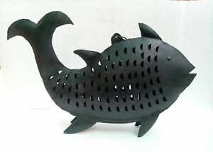 Iron Fish Antique Old Handmade Fish Tea light Candle Figurine Statue Decor Art
