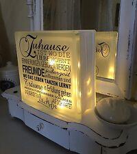 Lampe Glas Aufkleber/Tattoo+Name! Shabby Chic Leuchte Licht-Kette Creme Beige