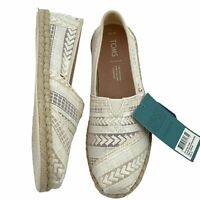 Toms Natural Arrow Embroidered Mesh Rope Classic Slip On Shoes Womens Size 7.5