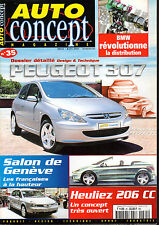 REVUE MAGAZINE AUTO CONCEPT N°35 03/04 2001 PEUGEOT 307 HEULIEZ 206 CC GENEVE