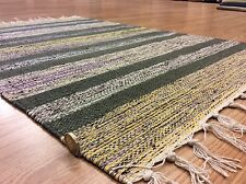 Handloomed Ethnic Multi Colour Striped 100% Cotton Rag RUG Durrie 60x90cm 50%OF