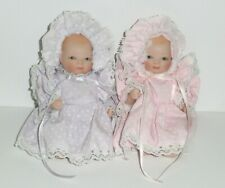 """All Porcelain/Bisque 6"""" Jointed Bye Lo Baby Doll Pair *Antique Reproduction"""