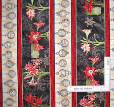 Christmas In Bloom Amaryllis Flower Stripe Cotton Fabric Wilmington By The Yard