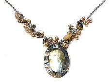 Bijou tendance collier abalone coquillage sur résine  necklace