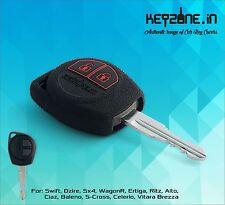 KeyZone Silicone Key Cover for Suzuki Swift, Dzire, SX4, Ertiga, Wagon-R (Black)