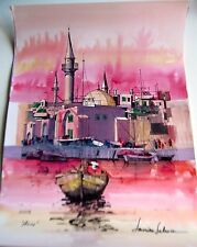 Israeli Art Judaica  The Port of Acco Original Watercolor L Lalum 27x19 1/2