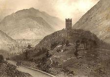 Pyrénées-Eugéne Ciceri: TOUR DE CASTEL VIEILH & Vallée de Luchon. Lithographie