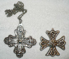2 VINTAGE REED & BARTON STERLING SILVER CHRISTMAS CROSSES CROSS