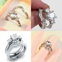 Shining Silver White Sapphire Wedding Band Rings Set Women Wedding Jewelry Gifts