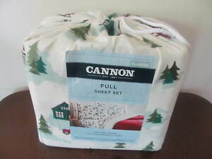 """Cannon Flannel Sheet Set Full Size Cabins Pattern Multi-Colored 16"""" Depth 54x75"""