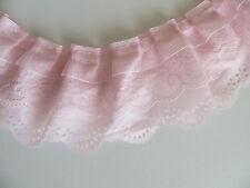 1yd 3-layer Pleated Organza Lace Edge Trim Gathered Mesh Chiffon Ribbon Pink DIY