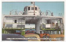 Car Ferry Boat Arrives Piney Point St Petersburg Bradenton Florida 1954 postcard