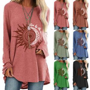 Womens Boho Hippie Long Sleeve Tops Ladies Loose Tunic T Shirt Blouse Plus Size