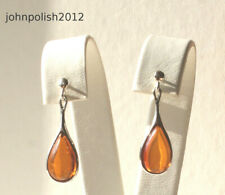 Baltic Amber Earrings Tears with Silver 925