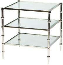 ACCENT TABLE SQUARE POLISHED NICKEL METAL GLASS