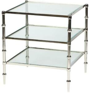 ACCENT TABLE SQUARE POLISHED NICKEL METAL GLASS BRONZE BRASS