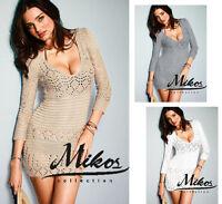 HOT!! Super Sexy Häckel Kleid Kleider Minikleid Tunika Schic S M 36 38 0978