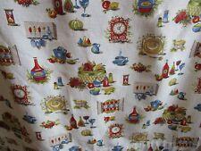Pair 1940's / 50's Printed Barkcloth Kitchen Curtains - Mid-century Pattern