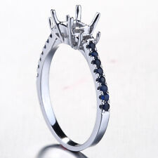 Pave 0.23ct Sapphire Ring Princess 4.5mm Three Stone Semi Mount 14k White Gold