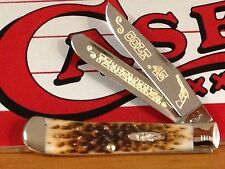 """CASE XX Colt.45 PEACEMAKER""""Amber Bone Trapper Knife Gold Color Etch/Display NEW"""