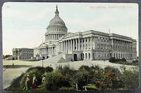 Washington DC Antique Postcard Capitol Building People (d028)