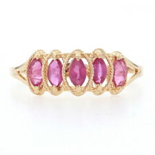 Yellow Gold Ruby Five-Stone Ring - 14k Marquise Cut 1.10ctw Tiered Rope