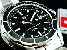 NEW Invicta Men's 44mm Pro Diver SWISS MADE Ronda Silver Tone Black Dial Watch