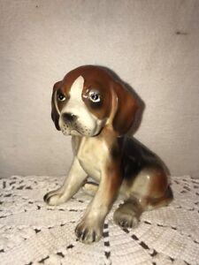 Vtg Ceramic Porcelain Beagle Walker Hound Hunting Puppy Dog figurine Detailed