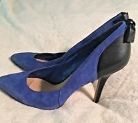 JESSICA SIMPSON Stiletto Heels Blue Suede and Leather Black Back w/Bow Size 8