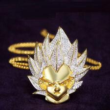 Vegeta Saiyan Pendant Dragon 14k Yellow Gold Over Round Cut DVVS1 1.50Ct Diamond