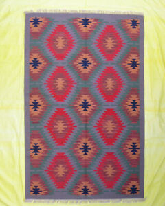 Kilim Dhurrie Area Floor Mat Bedroom rugs 5'x8' Multi Color Afghan Wool Rug