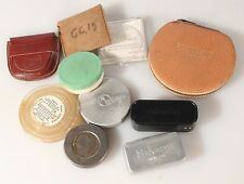 PHOTOGRAPHIC ACCESSORIES CASES, ASSORTED LOT, METAL,LEATHER, VINTAGE,SET OF 10