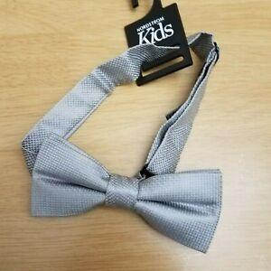 Nordstrom Kids Gray Silver Bow Tie One Size Big Boy Adjustable 100% Silk NWT