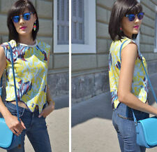 Zara Bloggers Amarillo Estampado Sin Mangas Top Verano Talla Mediana