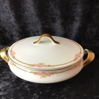 Theodore Haviland Limoges France Covered Vegetable Serving Dish Pink Roses