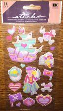 Sticko Puffy Pirate Princess Ship Hearts Skull Flags Scrapbook Stickers Disney