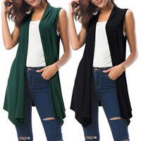 Womens Plus Size Sleeveless Tops Open Front Vest Tunic Draped Jacket Cardigan