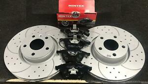 AUDI A8 3.0TDi QUATTRO D3 04-10 DRILLED GROOVED FRONT BRAKE DISCS AND BRAKE PADS