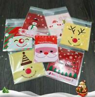 100 Christmas Cellophane Treat Bags Biscuit Cookie Sweet Cello Party Favour Gift